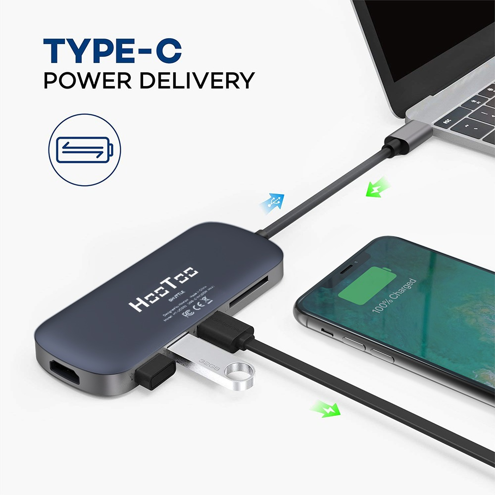 HooToo 6-in-1 Premium USB C Adapter with Type C Charging 4K HDMI Card Reader 001
